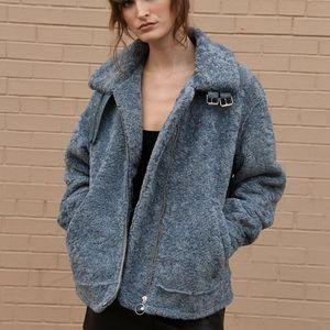 BNWT grey/blue faux sherling coat